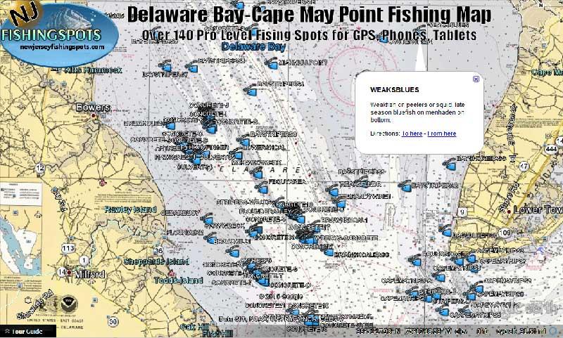 DELAWARE-BAY--MAPS - New Jersey GPS Spots on